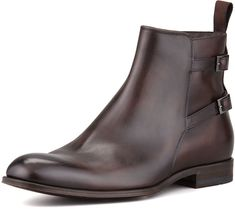 $545, Dark Brown Leather Chelsea Boots: Hugo Boss Boss Savan Buckle Chelsea Boot Dark Brown. Sold by Neiman Marcus. Click for more info: http://lookastic.com/men/shop_items/81092/redirect