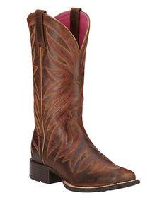 Brown Brilliance Leather Boot - Women #zulily #zulilyfinds
