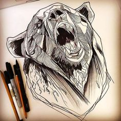 Bear Head Tattoo Design