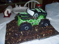 Grave Digger Monster Truck Cake Grave Digger Cake, Truck Cakes, Monster Trucks, Desserts, Food, Tailgate Desserts, Deserts, Essen, Postres