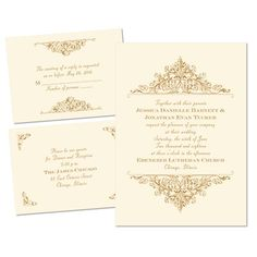 Vintage Victorian Separate and Send Wedding Invitations - Ecru at Ann's Bridal Bargains