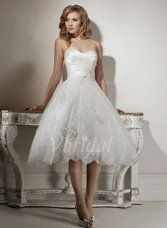 Wedding Dresses - $143.44 - A-Line/Princess Strapless Sweetheart Knee-Length Organza Satin Wedding Dress With Ruffle Lace Beading (00205003269)