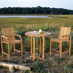 Nantucket Bar Chairs and Essex Bar Table,  front foot rest is plated with solid brass plate to protect the teak wood.  Bar table comes with umbrella hole, great for poolside, cafe or patio settings. #teak #patio #furniture #design #style