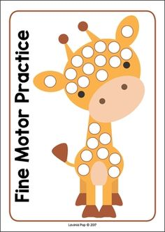 Zoo Centers for Preschool and Kindergarten. Giraffe fine motor practice mat.