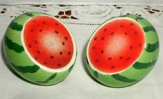 Bright & cute!    ~Watermelon Salt and Pepper Shakers