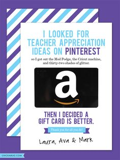 Free printable teacher appreciation cards from Chickabug - cute and funny!  The only thing teachers really want! ;)