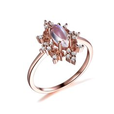 Marquise Moonstone Engagement ring, Rose Gold Marquise Vintage Moonstone Ring - 6.5 / 14K White Gold