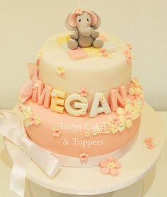 Baby Christening Elephant 2 tier Cake