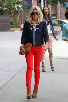 Mollie King~love the nautical jacket and colour combo.