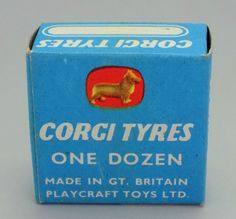 VINTAGE CORGI BOX OF 8 BLACK MODEL CAR TYRES BY PLAYCRAFT TOYS C-1449