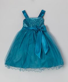 Take a look at this Teal Sequin Tulle Dress - Toddler & Girls by Princess Diaries on #zulily today!