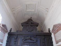 Humilitas, cammello, morso (Borromeo) - Almo Collegio Borromeo, Pavia. Portale ligneo e stucchi decorativi sul soffitto, ingresso principale di piazza del Collegio Borromeo 9.
