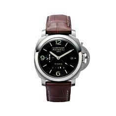 Panerai LUMINOR 1950 10 DAYS GMT Front – 44mm Brushed steel case. Automatic mechanical movement, Panerai P.2003 calibre. Black dial. Functions: hours, minutes, small seconds, date, second time zone, 24h indicator, linear power reserve indicator, seconds reset. Alligator strap. Trapezoidal brushed steel buckle. Water-resistance: 10 bar (~ 100 metres).
