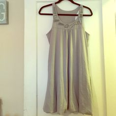New adorable grey bubble dress. Size M Grey bubble dress (racerback) with cool jeweled neckline. Size medium def can fit a large  (stretchy comfy material) never worn this is new! (Tags fell off) Bought at Century 21. Accepting offers! Cute for summer or with black tights and botties for winter!! Envi Dresses Mini