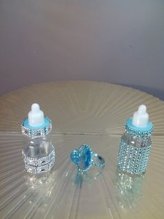 Creative Creations by Adrienne,Blue Bling Bottles & Pacifier Favors Bling Baby Shower, Angel Baby Shower, Baby Shower Cakes, Baby Shower Parties, Baby Shower Themes, Baby Boy Shower, Shower Ideas, Baby Shower Centerpieces, Baby Shower Decorations