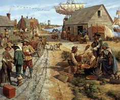 Jamestown, Va, 1660's.  Keith Rocco.  Although Jamestown never became the great city John Smith envisioned, this settlement established an English presence and a culture in the New World which eventually would influence a nation.