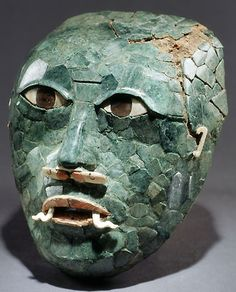 Mayan jade funerary mask, Jade, shell, and obsidian, Early Classic Period, 200–600 AD, Calakmul, Campeche, Mexico.