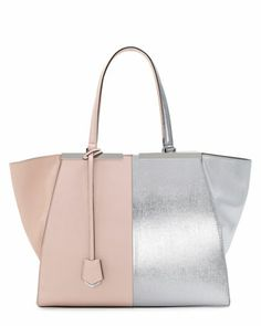 Trois-Jour Grande Leather Tote Bag, Pink/Silver by Fendi at Neiman Marcus.