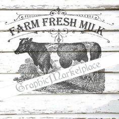 Fresh Milk Farm Transfer Burlap digital by GraphicMarketplace
