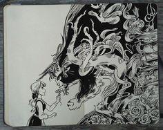 #137 The Beauty and the Beast by Picolo-kun Disney Fantasy, Disney Art, Moleskine, Diana Diaz, Gabriel Picolo, Art Sketchbook, Ink Art, Traditional Art, Doodle Art