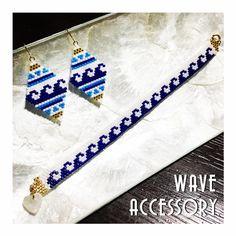 オーダー頂いた wave accessory 夏にぴったり #デリカビーズ #デリカビーズ織り #デリカビーズピアス #デリカビーズアクセサリー #デリカビーズブレスレット #波 #wave - keiko.805