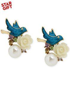 Betsey Johnson Gold-Tone Imitation Pearl Blue Bird Stud Earrings - Fashion Jewelry - Jewelry & Watches - Macy's