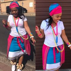 Winnie Mashaba takes today's outfit of the day crown in this colourful traditional sePedi outfit. Venda Traditional Attire, Sepedi Traditional Dresses, South African Traditional Dresses, Short African Dresses, African Print Dresses, African Fashion Dresses, African Prints, African Clothes, Fashion Skirts
