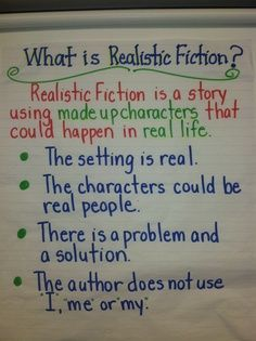 realistic fiction anchor chart | Realistic fiction Genre Anchor Charts, Fiction Anchor Chart, Anchor Charts First Grade, Reading Anchor Charts, Reading Genres, Writing Genres, Narrative Writing, Fiction Writing, Writing Workshop