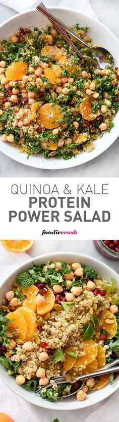 Quinoa, chickpeas (garbanzo beans) and pistachios add protein and healthy fat to this simple and seasonal kale salad, making it a favorite side dish or vegetarian main meal   foodiecrush.com