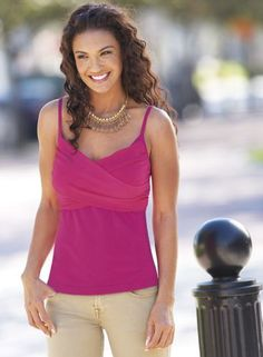 Georgette Tank from Monroe and Main. www.monroeandmain.com Pretty georgette layers cross over stretchy knit for a perfect pop of color.