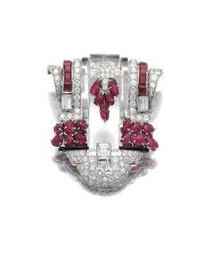 Rock crystal, ruby, enamel and diamond clip brooch, circa 1930