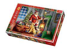 Puzzle 1000 Trefl 10495 Mikołaj - Czas Prezentów Advent Calendar, Baseball Cards, Christmas, Decor, Decorating, Navidad, Advent Calenders, Weihnachten, Yule