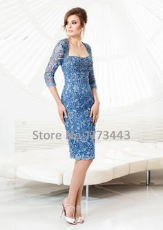 Find More Cocktail Dresses Information about Fancy Light Sky Blue The Quarter Sleeve Lace Sheath Knee length Cocktail Dress,High Quality dress lace fabric,China lace long sleeve wedding dress Suppliers, Cheap dress dog from Beautiful forest wedding dresses on Aliexpress.com