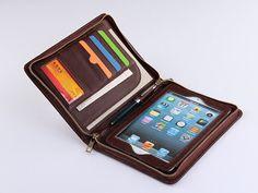 Zipper Wallet Case Full Grain Leather Coffee mini Hand Carrying Portfolio Case for Apple iPad mini Business for Apple mini tablet