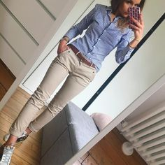 Blue pin striped shirt, khaki skinny jeans, switch to brown sandals & belt