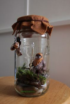 Make your own action figure terrarium - Star Wars Ewok - Ideas of Star Wars Ewok - Make your own action figure terrarium (since I am about to put the action figures back up on their shleves today) Mini Terrarium, Decor Terrarium, Star Wars Crafts, Geek Crafts, Diy Crafts, Theme Star Wars, Star Wars Party, Make Your Own, Make It Yourself