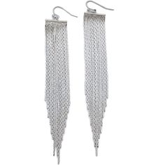 Jules Smith Bar Fringe Drop Earrings ($39) ❤ liked on Polyvore featuring jewelry, earrings, accessories, silver, fringe earrings, silver jewellery, drop earrings, jules smith earrings and french hook earrings