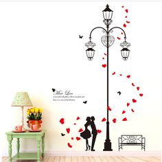 2 set Lover Meet Sweet Love Under Road Lamp Removable PVC Wall Decals Vinyl Wall Sticker Black Red Love Heart DLX0137 #Affiliate