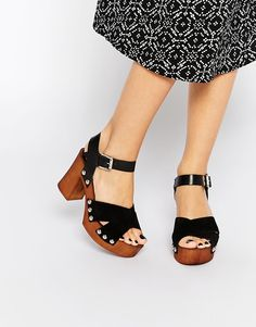 AUD 70.60 Free Shipping ASOS TAMARA Leather 70s Heeled Clogs