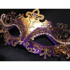 Purple and Gold Metallic Capri Masquerade Mask ($95) ❤ liked on Polyvore featuring costumes, masks, masquerade halloween costumes, bride costume, masquerade costume, party halloween costumes and purple costume