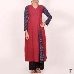 Buy online Maroon blue ajrakh long kurta for girl | Tjori