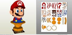 Papercraft .pdo file template for Super Mario - Mario Bust.