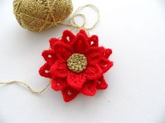 Crochet Corsage Brooch Red Flower - Christmas Flower -  Poinsettia