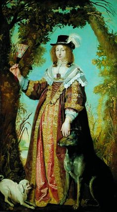 1643 Leonora Christine med hunde by Karel van Mander (Frederiksborg Slot - Hillerød, Roskilde County Denmark)   Grand Ladies   gogm
