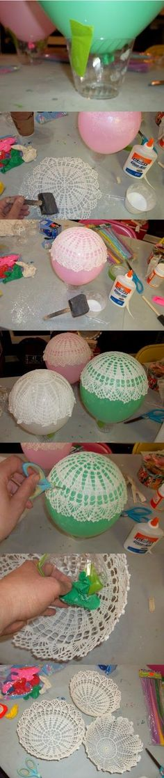 "Blueberry Bog :: vintage & handmade: DIY :: Upcycled Doily Bowls at Blueberry Bog [   ""try with slip dip??"",   ""DIY :: Upcycled Doily Bowls: I could make these into hot air balloons for Dolcie"