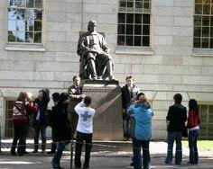 John Harvard statue at the Harvard yard