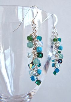 Sea Shower cluster earrings - Swarovski crystals, Sterling Silver - blue, aqua, teal, turquoise