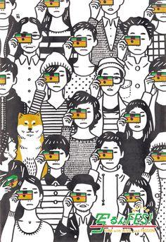 """""""写ルンです"""" で撮った写真によるグループ写真展「写るんFES!」のフライヤーイラスト。2014.03.26 - .31"""
