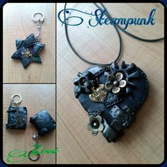 Steampunk, Stern, Herz, Buch, Star, Heart, Book, Fimo, Clay