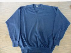Burberry Golf V-Neck Sweater Navy 100% Merino Wool Made In Italy XL #Burberry #VNeck